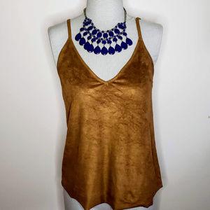 Express Suede/ Velvet Brown Camisole